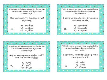 Phonics Task Cards Syllables CV/VC