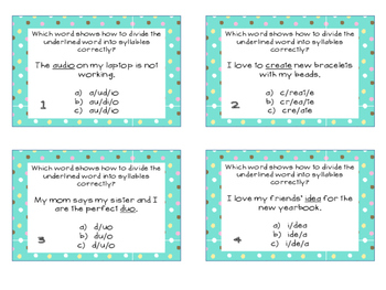 Phonics Task Cards Syllables CV/VC