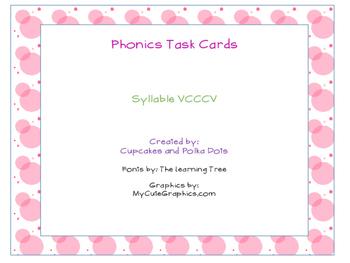 Phonics Task Cards Syllables VCCCV