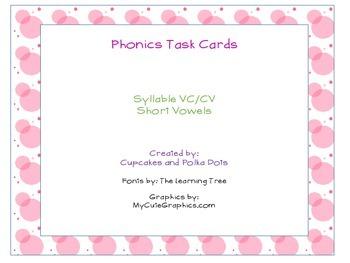 Phonics Task Cards VCCV Syllables Short Vowel Sounds