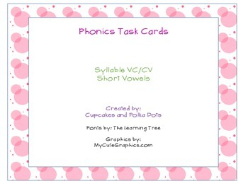 Phonics Task Cards VCCV Syllables Short Vowel Sounds