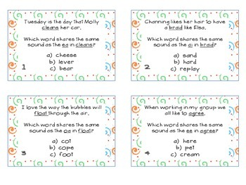 Phonics Task Cards Vowel Digraphs