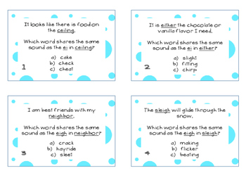 Phonics Task Cards Vowel Patterns ei,eigh