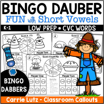 Phonics Thanksgiving Dab 10 Bingo Dabber Games with Short Vowels