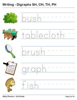 Phonics - Third Grade - Digraphs SH, CH, TH, and PH Series