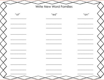 Phonics  Trace, Write, Cut & Paste Word Family