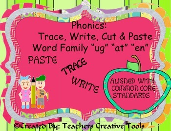 Phonics Trace Write Cut & Paste ug at en  Word Families