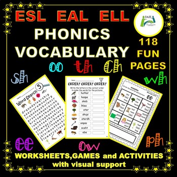 Phonics, Vocabulary, Games and Activities with visual support.