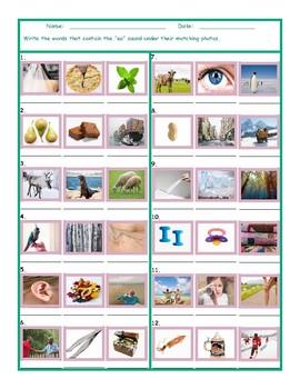 Phonics Vowel Team EI Photo Worksheet
