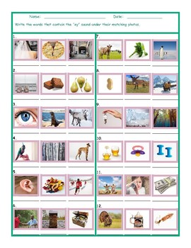 Phonics Vowel Team EY Photo Worksheet
