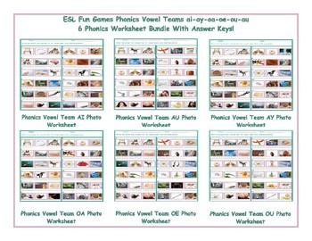 Phonics Vowel Teams ai-ay-oa-oe-ou-au 6 Worksheet Bundle