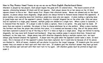 Phonics Vowel Teams ai-ay-oa-oe-ou-au Photo Checkerboard Game