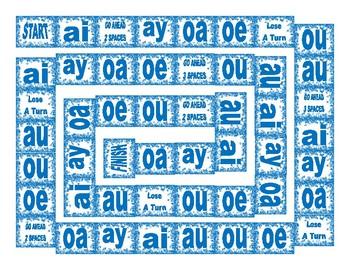 Phonics Vowel Teams ai-ay-oa-oe-ou-au Text Board Game