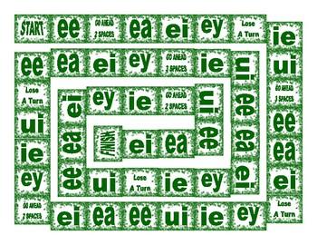 Phonics Vowel Teams ee-ea-ei-ey-ie-ui Text Board Game