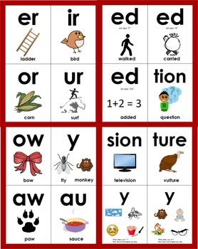 Phonics Vowel & Vowel Pattern Flashcards, Long Vowels, Vowel Digraphs, Dipthongs