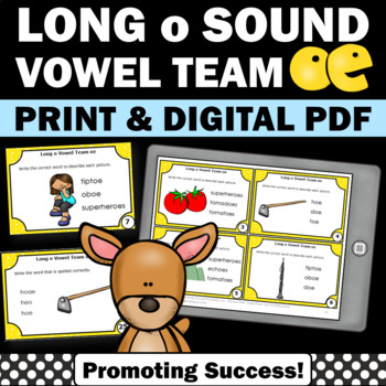 oe Vowel Team, Long o Word Work Activities, 1st Grade Phonics Games