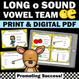 oe Long Vowel Activities with Task Cards, Phonics Centers, Vowel Teams Word Work