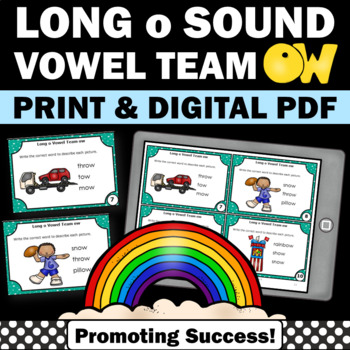 ow Long Vowel Activities, Phonics Centers, Vowel Team Practice Task Cards