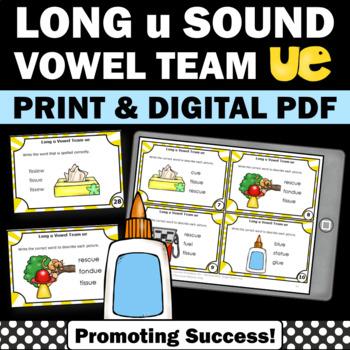 ue Games, Long u Sound, 1st Grade Phonics Review, Word Work Activities