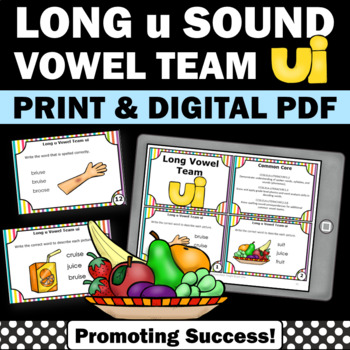 Long Vowels { ui } Team Task Cards for Phonics Games & Act