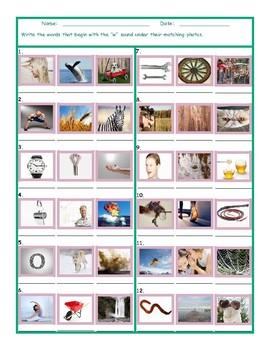 Phonics W Sound Photo Worksheet