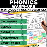 Phonics Warm Ups   Short and Long Vowel Phonics Worksheets