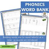 Phonics Word Bank supports Jolly Phonics | SASSOON Font