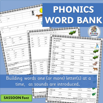 Phonics Word Bank ~ follows letter sequence in Jolly Phoni