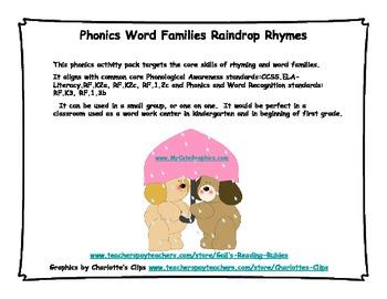Phonics:  Word Families                                    Raindrop Rhymes