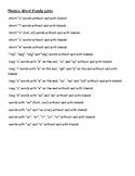Phonics Word Family Lists