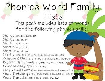 Phonics Word Family Lists- 1st Grade - Pirate Theme - Comm