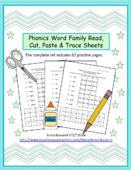 Phonics Word Family Read, Cut, Paste & Trace Sheets