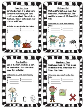 Phonics Word Family Recognition, Reading, and Short Answer Activities