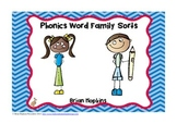 Phonics Word Family Word Sort Pack
