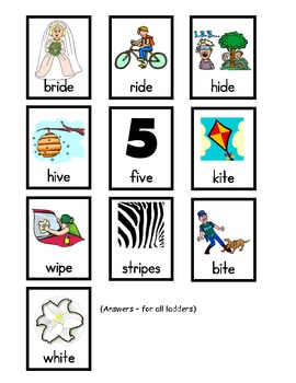 Phonics- Word Ladder Activity for long i words spelled with silent e