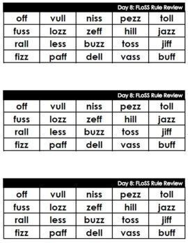 Phonics Word Lists: FLoSS Rule (real and nonsense words)