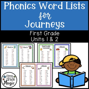 Phonics Word Work Lists Journeys Units 1 & 2 First Grade