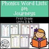 Journeys Phonics Word Work Lists Units 3 & 4 First Grade