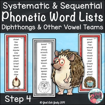 Phonics Word Lists with Diphthongs and Other Vowel Team Patterns Hedgehog Theme