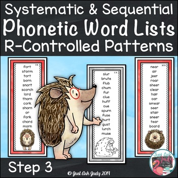 Phonics Word Lists with R-Controlled Vowel Patterns Hedgehog Theme