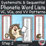 Phonics Word Lists with Short Vowel Silent e and Long Vowe