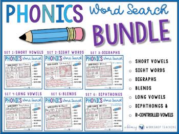 Phonics Word Search Full Year BUNDLE (6 sets)