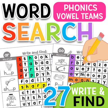 Phonics Word Search Puzzles: Vowel Teams & Controlled R