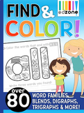Find & Color Bundle!!  Phonics, Word Family, Blends, Digraphs, & Trigraphs
