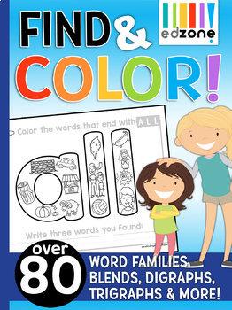 Find & Color Bundle!!  Phonics, Word Family, Blends, Digraphs, & Trigraphs
