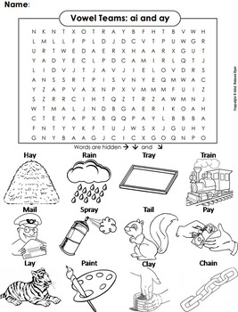 ai ay Vowel Team: Phonics Worksheet: Digraphs Word Search/ Coloring Sheet