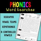 Phonics Word Searches BUNDLE - Digraphs, CVCE, Vowel Teams
