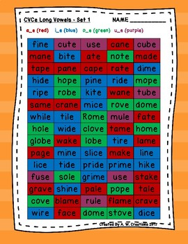 Phonics Word Searches (Set of 5) - CVCe Long Vowels