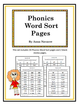 Phonics Word Sort Pages