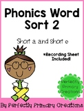 Phonics Word Sort- Short A & E